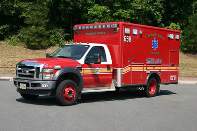 When not being used, Reserve Ambulance 698 is kept at Loudoun County's fire and rescue warehouse in Ashburn.  698 is a 2008 Ford F450 built by Horton.