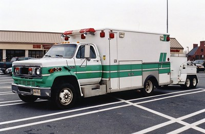 Former Loudoun County Fire Marshal bomb unit.  A 1989 Chevy/Wheeled Coach, this is an ex - Sterling Rescue Squad ambulance.