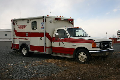 Former Communications 50, a 1987 Ford F-350.  The front of this former ambulance came from the Loudoun County Rescue Squad and the box came from Fairfax County, Virginia.