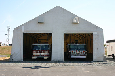 "Some of the Training Center apparatus are stored in this ""tent"".  This structure was the original apparatus bays for South Riding Station 19 when it opened in 2001."