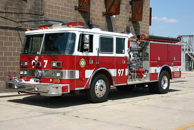 Sterling Fire donated two engines to the Training Center in 2005.  Engine 97 was a 1984 Pierce Arrow that was rehabed by Pierce in 1992 to include the addition of a four door cab.  It is equipped with a 1500/750.  Once its work was completed at the Training Center, Sterling received the engine back and donated it to the Monroe Tech High School in Leesburg.