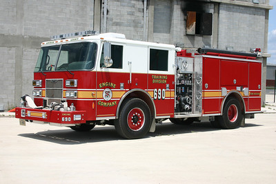 Training Center Engine 690 is one of two identical 2008 Pierce Contender's equipped with 1250/500.  It was delivered with Engine 691 and Truck 690.  Fire Apparatus Journal published an apparatus overview of the Training Center apparatus in their March/April 2010 edition.