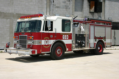 Engine 693 at the Training Center was disposed of during November of 2012.  Engine 693 originally saw service as Wagon 4 in Round Hill.  Originally a Pierce demo engine, the 1994 Pierce Dash was delivered to Round Hill in 1996.  This Pierce arrived at the Training Center in 2008 after Round Hill took delivery of a new county engine.