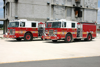Training Center Engine's 690 and 691 photographed just after delivery at the burn pad.