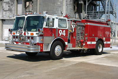 This 1985 Hahn 1500/500 was originally painted yellow and white and delivered to the Stonewall Jackson VFD just outside of Manassas, Virginia (Prince William County).  It was sold to Round Hill in 1999, who had LSI of Purcellville, Virginia rehab the engine which included a red and white paint scheme.  The Training Center received the engine in 2006 not long after Round Hill placed into service their 2005 Seagrave rescue engine.  Engine 694 at the Training Center was sold back to the Stonewall Jackson, VA fire department in November of 2012.