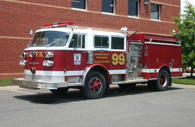 Old Wagon 99 has re-appeared.  In June of 2013 I was surprised to find this 1981 American LaFrance/1990 JC Moore 1250/750 engine sitting at the facility where most maintenance occurs on county fire apparatus.  This was the original training center engine and originally was FDNY E-250.  The career folks hope to restore the ALF.