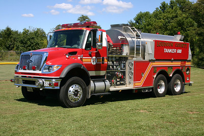 Photographed in September of 2013 while filling in for Tanker 616 in Neersville, Tanker 680 is a 2005 International 7600 4x4/Pierce 1500/3000 tanker.  This was the county's first county purchased 3,000 gallon water tank designed for the western end.  The International originally saw service as Tanker 5 in Hamilton.  Once leaving Hamilton and serving a brief assignment as a reserve, the International became Tanker 612 in Lovettsville when Lovettsville sold their 1999 Pierce Dash tanker.  In 2013, the International went back into reserve status as Tanker 680.