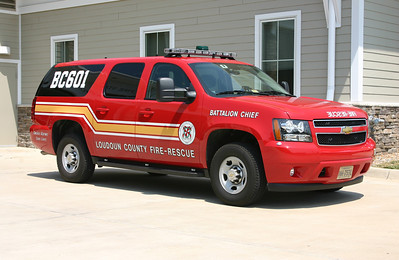 Battalion Chief 601 received the first BC buggy painted in the new colors for Loudoun County.  BC 601 is a 2012 Chevrolet Suburban outfitted by Fastlane of Purcellville.  BC 601 was photographed at Station 22 in Ashburn-Lansdowne where BC 601 is housed.