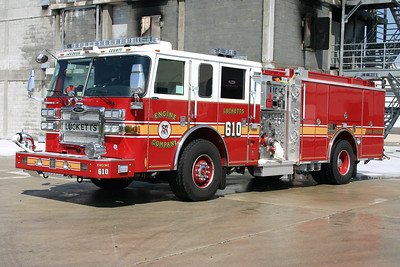 Lucketts Engine 610 is a county purchased 2007 Pierce Dash  1500/750/50.  This photograph was taken in April of 2008 at the new burn building at the Training Center.  Engine 610 was being tested prior to being sent to Lucketts for service.  This engine is now in reserve status.