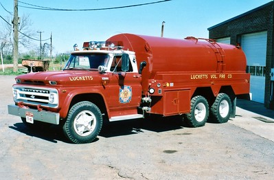 Former Tanker 10, a 1965 Chevrolet/1977 4-Guys, 350/3000.  The Chevy front end was a former septic tanker truck.