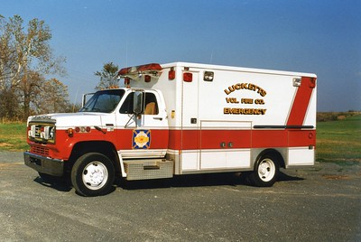 Former Unit 10, a 1988 Chevy/Wheeled Coach.  Sold in 2003.  ex - Sterling Rescue Squad (Loudoun County).