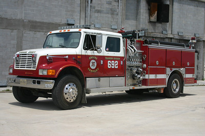 Engine 692 at the Training Center was disposed of during November of 2012.  Engine 692 was originally delivered to Lucketts where it ran as Wagon 10.  It is a 1991 International 4900/E-One 1250/1000 that was transferred to the Training Center in 2008 after Lucketts placed into service a new county Pierce engine.