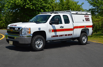 Utility 680 is a reserve utility for the county.  In May of 2014, it was at Fire Station 10 in Lucketts.  You might wonder why this truck is painted the white with red stripes and not the red like other county trucks.  This truck was a grant purchase.  Utility 680 is a 2013 Chevrolet.