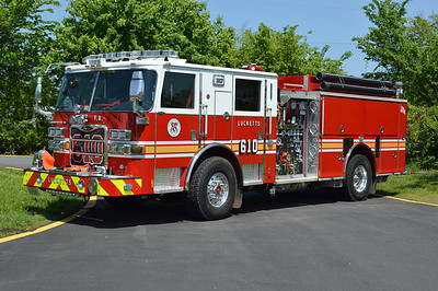Loudoun County took delivery of two 2013 Pierce Arrow XT's in 2013 and assigned one of them to Engine 603 (although originally marked as Reserve) and this one - Engine 610 at Lucketts.  Engine 610 is equipped with a 1500/750 and 30 gallons of foam.  The guys on duty on my unscheduled visit were fantastic moving trucks around.