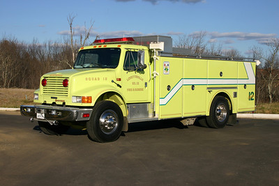 Lovettsville's Rescue 612 was a 1991 International 4900 built by Grumman.  This truck was unusual since Grumman built very few rescue squad trucks.  The Lovettsville squad was delivered to Station 12 along with a 1991 Grumman engine.  Rescue 612 was sold in 2011 to the Carolina TWP VFD in Stokes, North Carolina.