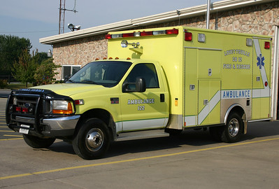 Lovettsville's old Ambulance 12-2, a 1998 Ford F350/Medic Master.  Note the horns mounted right above the cab.