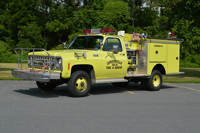 "This old Lovettsville truck is now privately owned by a collector and is a 1980 Chevrolet /Pierce 400/250.  Known as ""Attack 12"" while at Lovettsville, it was sold to Lucketts Station 10 which kept it in its Lovettsville colors.  Lucketts sold it to a collector who once operated this truck while in service at Station 12."