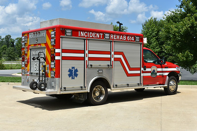 Purcellville Volunteer Rescue Squad - Purcellville, Virginia in Loudoun County.  Incident Rehab 614 is a 1999 Ford F550/2000 LSI/2018 Apparatus Solutions Emergency Vehicle Outfitters.  Equipped with tents, seats, cooling fans, beverage/snacks, and basic medical supplies.  It is not a canteen unit.  Originally delivered to Philomont, Virginia in Loudoun County where it ran as Unit 8.  In 2017, it was sold to Purcellville VRS.  Work in 2018 by Apparatus Solutions included graphics, scene/warning lights, shelve work, hand truck holder, and storage for small propane bottles.