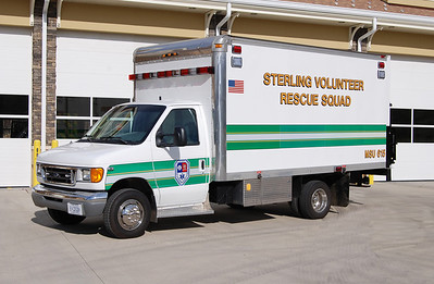 """I had the opportunity to watch this truck being modified for service for Sterling Rescue.  Medical Support Unit 615 is housed at the Kincora Safety Center (Sterling Rescue Station 35).  MSU 615 is a 2004 Ford E350 with a 15' box built by """"Complete Truck Bodies"""".  The truck was purchased in 2013 in the Winchester area.  Keplinger Repair, also located in Winchester, modified the truck as a Medical Support Unit.  The new MSU 615 replaced a 1997 trailer operated by Sterling Rescue.  MSU 615 has the capability to treat 75 patients.  In the rear is a lift gate to support operations.  Other work completed on the truck included warning lights, siren, scene lights, interior lighting, body work, painting, lettering, interior shelving/compartments, and the addition of a 6kw generator.  Some of the medical supplies carried include LP12, suction devices, trauma supplies, and rehab equipment."""
