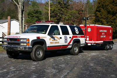 This 1999 Chevrolet Suburban was outfitted by Fastlane and was once Command 15 for the Sterling Volunteer Rescue Squad.  It is now operated by the Capon Springs, West Virginia (Hampshire County) Volunteer Fire & Rescue.  One of its duties is to tow the departments Air and Light trailer.