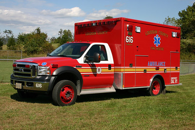 Ambulance 616 is a 2007 Ford F450 built by Medtec.  A similar ambulance runs at Aldie Station 7.  To reserve in 2015.