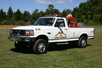 Brush 616 in Neersville as photographed in September of 2013.  It is a 1994 Ford F350 4x4 with a Micro Pumper skid unit equipped with a 310 gallon per minute pump and carries 200 gallons of water.  The skid unit was acquired in 2007 from the Sharpsburg, Maryland VFD.  This unit was sold to the Boonsboro, MD Fire Dept. in 2014.