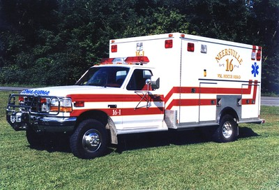 Former Ambulance 16-1, a 1992 Ford F-350/PVI.  Sold to Harpers Ferry, West Virginia.