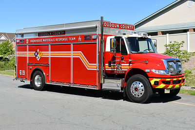 The officer side view of Loudoun County's HAZMAT Support 619, a 2016 International 4400/Pierce.