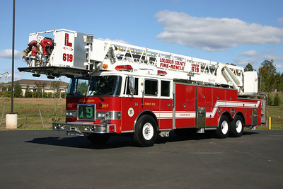 The original Tower 619 was this 1993 Pierce Arrow 100' tower that was placed into service in 2007.  It was a loaner from a local Pierce dealer and utilized by Station 19 until the delivery of their new Pierce Dash 95' tower.  It was originally delivered to Chesapeake, Virginia where it ran as Ladder 5 and Ladder 4.  It was returned to the local Pierce dealer in 2008 and eventually sold to Chatham, Virginia.