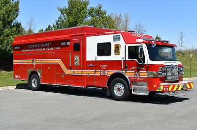 Loudoun County, Virginia HAZMAT 619 from South Riding - a 2018 Pierce Impel with Pierce job number 31287.  Photographed April of 2018, the day it was delivered to Loudoun County.