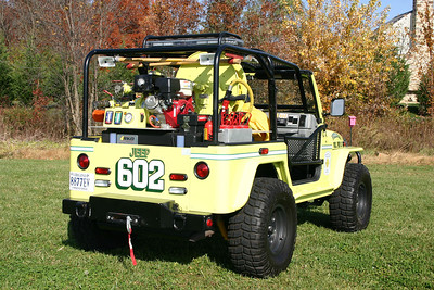 A back end view of Jeep 602, as photographed in an open field next to the old Fire Station2 in Purcellville.