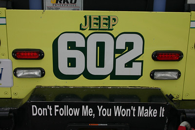 The rear of Jeep 602, as it appeared at the 2011 Apple Blossom firefighters parade in Winchester.