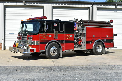 Engine 13 from Conicville was received in 2010 from the Purcellville Volunteer Fire Department in Loudoun County, Virginia.  Engine 13 is a 1988 Pierce Lance that had a rehab in 2010 by Appalachian Freight, who also painted the Pierce black over red.  Equipped with a 1250/750 and Pierce job number E4217.