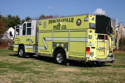 A back end view of Rescue Engine 602, a 2008 Pierce Quantum PUC  1500/750/40/40.