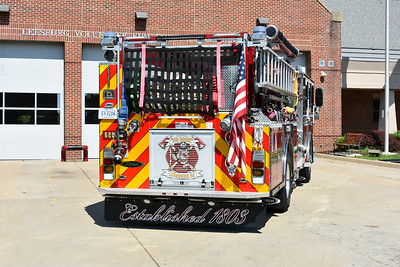 A back end view of Leesburg's Engine 620, a 2016 Pierce Enforcer.