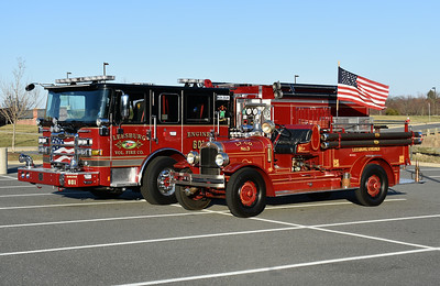 Leesburg's new Engine 601, a 2016 Pierce Enforcer, along with the department's 1929 Seagrave.  The emblem of the Seagrave is on the doors of the new Pierce.  Photographed February of 2017 just after the dedication of the new Pierce.
