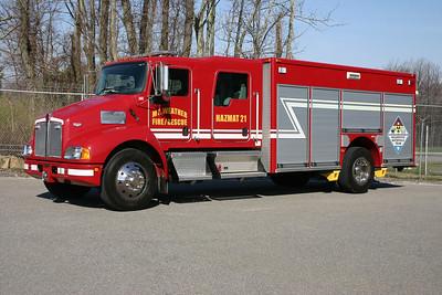 HAZMAT 21, delivered together with Engine 21, is a 2004 KenWorth T300/Pierce.