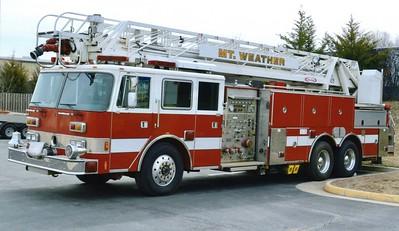 Mount Weather's former 1990 Pierce Arrow/2003 Pierce, 1000/300/30, 105', sn- E5935-03 ladder truck.  ex - Fort Meade, Maryland, Truck 63.
