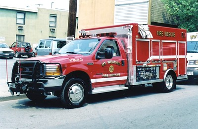 Former Attack 21, a unique 2000 Ford F-550/Fire Attacker, 300/200.  Wrecked in 2003.