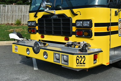 "A close up of the front bumper of Ashburn's Engine 622 ""Bravo"", a 2016 Ferrara Ignitor."