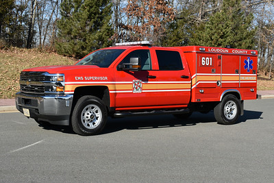 Loudoun County EMS 601 is a 2016 Chevrolet 3500 4x4/Swab.  This truck operates from Station 23 in Ashburn.