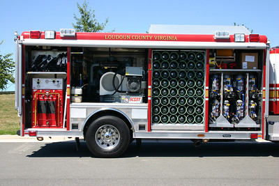 From left to right, filling station, air compressor, spare bottles, and spare SCBA's.