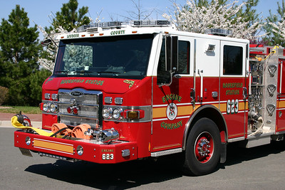 """When the new Engine 623 was delivered in 2009, it came equipped with an unusual """"Super Chief"""" siren instead of the popular Federal Q siren on the front bumper.  The Super Chief siren was later replaced with a Federal Q."""