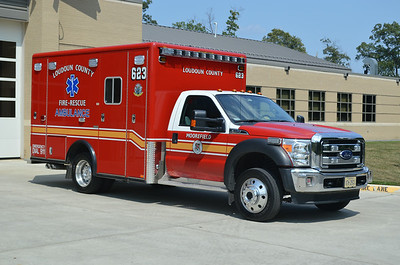 Medic 623 is a 2013 Ford F450 4x4/Horton.  One of seven similar units purchased by the county.  Moved to reserve status.