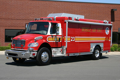 Loudoun County received one of eight Mobile Air Units delivered to Washington D.C. metropolitan area fire departments in 2005.  9/11 grant money provided funding for these trucks, all built on 2005 Freightliner M2 106 chassis with Hackney bodies.  In addition to the large air compressors, the Mobile Air Units have three filling stations, carry 100 SCBA bottles, spare packs, 19' light tower, and a 75kw generator.  Loudoun County assigned its Mobile Air Unit to Station 23.  I late 2015, the Mobile Air Unit was re-assigned to FS 8 in Philomont.