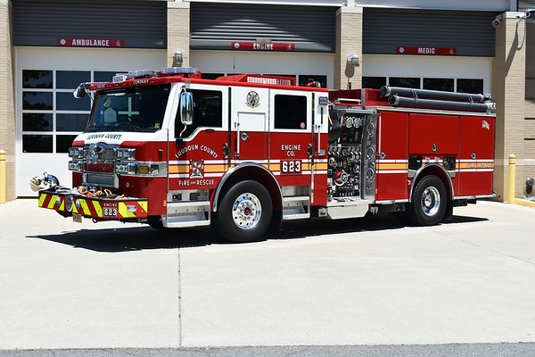 Loudoun County, Virginia - Moorefield Station 23.  Engine 623 is a 2018 Pierce Velocity 1500/750/40 with Pierce job number 32195.  This Velocity replaced a 2009 Pierce Velocity that was running as Engine 623 and sold.
