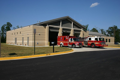 The rear bays of Fire Station 23 have quicker access to the exit of the station.  As a result, the engine and two EMS units run from the back of the station.  Shown in this photograph is Engine 623, a 2009 Pierce Velocity and Medic 623-2, a 2005 Freightliner M2/2006 Medic Master.