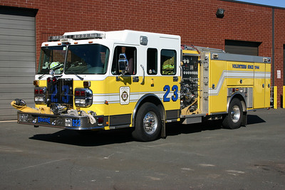 """Another photograph of Engine 623, a 2005 Spartan Gladiator/Ferrara  1500/500/20.  This photograph was taken at the original Fire Station 23, a """"warehouse"""" type of facility in the Moorefield area of Ashburn."""
