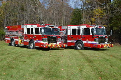 Officer sides of Engines 611 and Engine 624.  When these photographs were taken in October of 2014, Engine 611 was nearly finalized and ready for delivery.  Engine 624 still had work to be completed, including mounting of equipment and some graphics work (adding Engine 624 on the front right bumper).