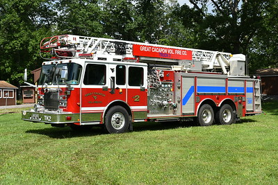 Originally on loan to Great Cacapon from Sterling, Virginia in Loudoun County, Truck 2 was purchased from Sterling in January of 2017.  With the purchase came the Great Cacapon name on the truck.  Truck 2 is a 2000 Spartan/Smeal 75' 1500/500 with serial number 7211.  It was originally Quint 11 in Sterling, and then reassigned to Quint 624.  Sterling purchased two identical trucks like this.  June, 2017 photograph.